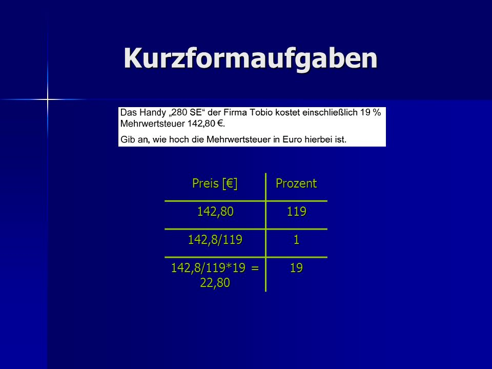 Kurzformaufgaben Preis [€] Prozent 142,80 119 142,8/119 1